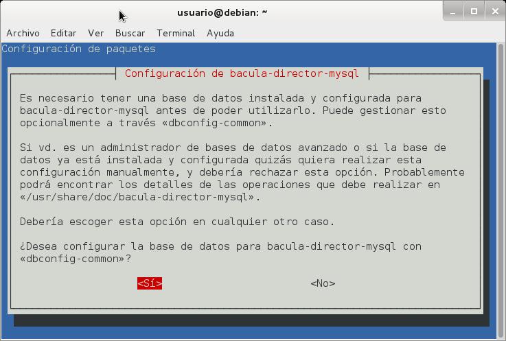 aptitude install bacula-director-mysql