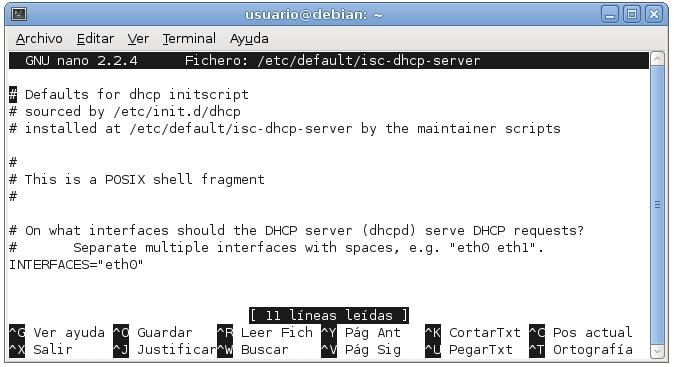 servidor dhcp en debian 2