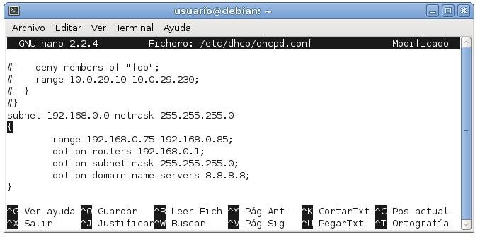 servidor dhcp en debian 3