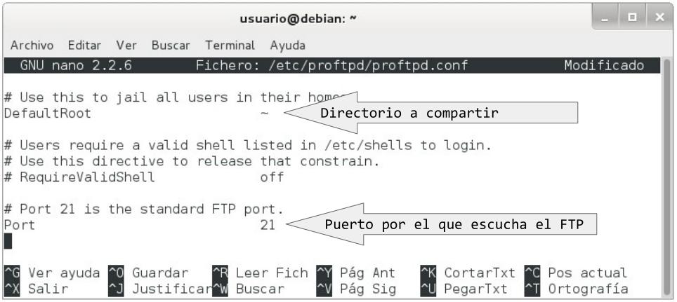 configuracion servidor ftp proftpd 3