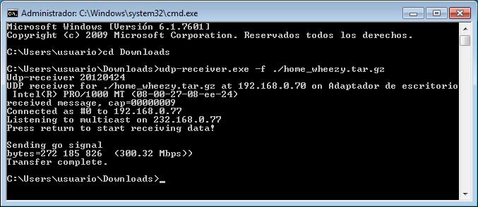 udpcast udp-receiver windows