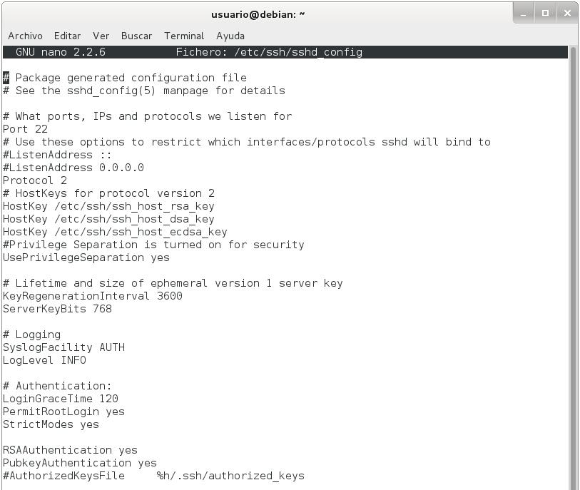 servidor ssh en debian 1