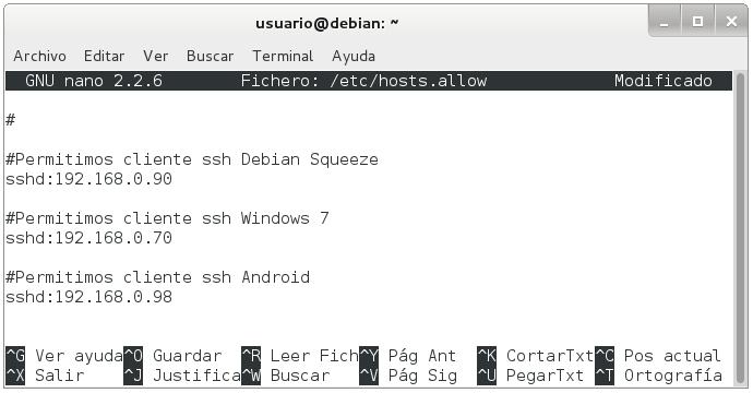 servidor ssh en debian 4