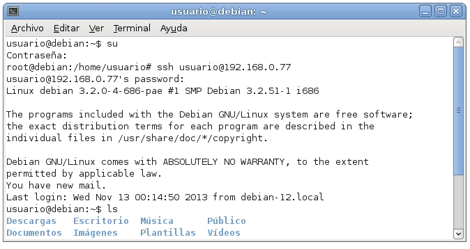servidor ssh en debian 5