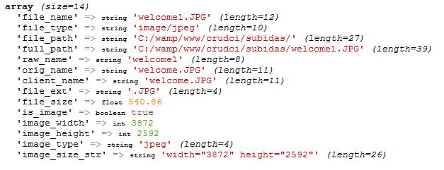 propiedades ficheros subidos codeigniter