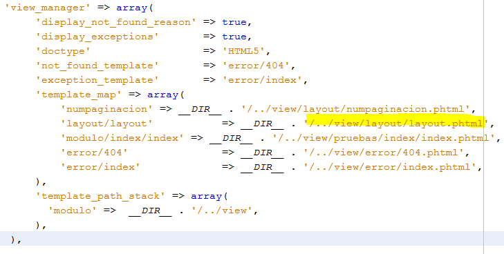 Plantillas en Zend Framework 2 module.config.php