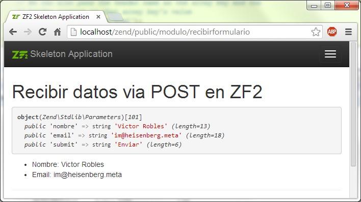 Crear formularios en Zend Framework 2 recibir post