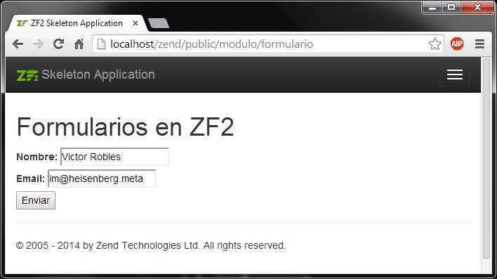 Crear formularios en Zend Framework 2