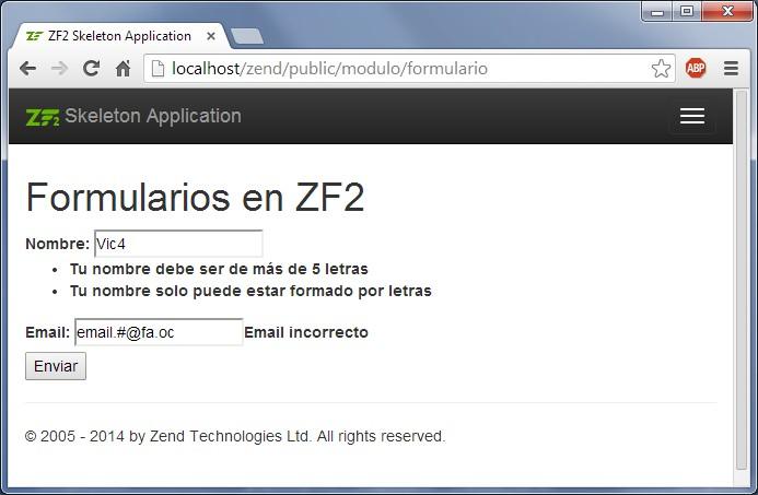 Validar formularios en Zend Framework 2 Zend Form