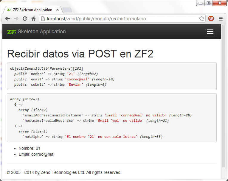 Validar formularios en Zend Framework 2