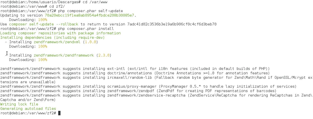 Instalar Zend Framework 2 en Lamp Composer