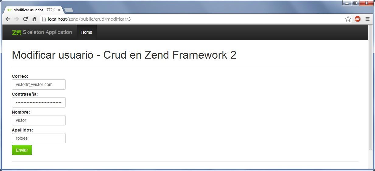 Crud con Zend Framework 2 modificar usuario