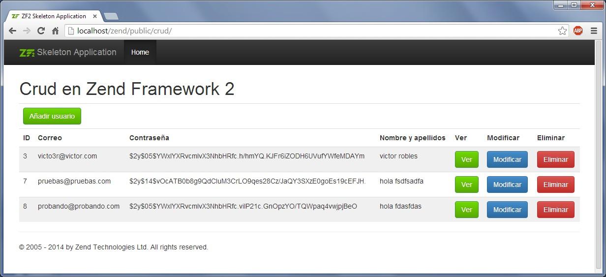 Crud con Zend Framework 2