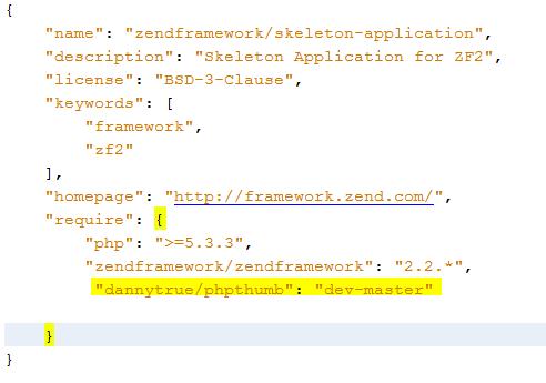 instalar modulos de terceros en zend framework 2 composer.json