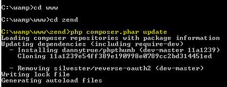 instalar modulos de terceros en zend framework 2 php composer.phar update