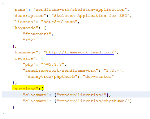 utilizar librerias de php en zend framework 2 composer.json