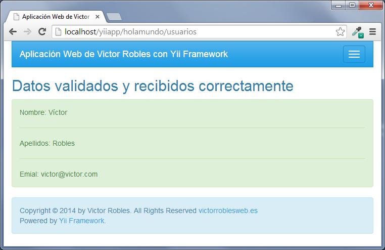 Crear el formulario solo con validación en el servidor en Yii framework validacion