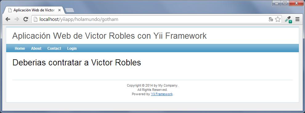 controladores y vistas en yii framework 1.1
