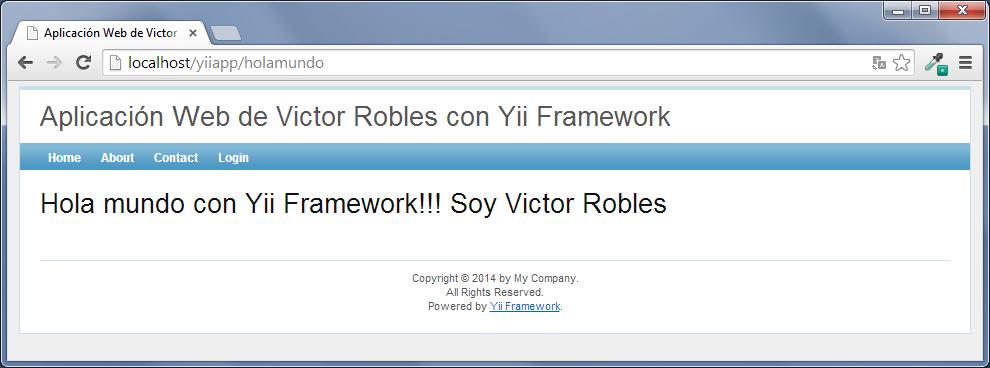 controladores y vistas en yii framework