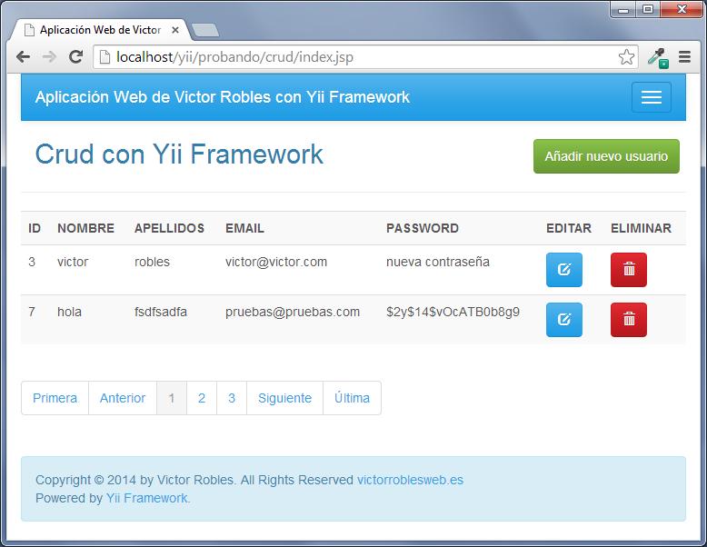 paginacion en yii framework