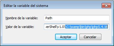 instalar yii en wamp windows path