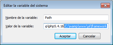 instalar yii en wamp yii windows path
