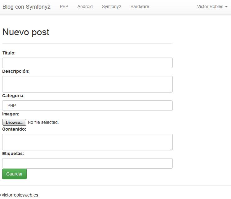 añadir post en symfony2 view
