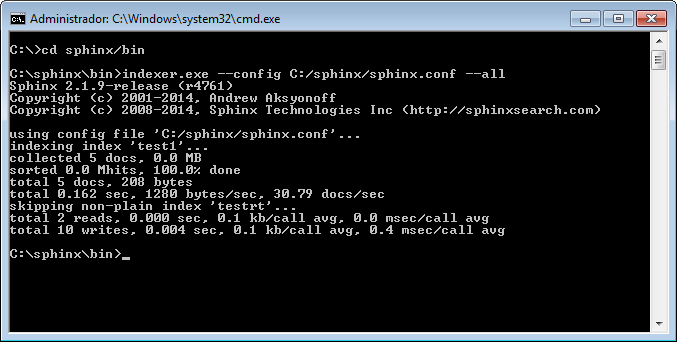 instalar sphinx search engine en Windows indexer