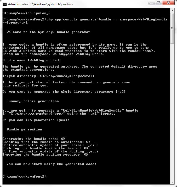 symfony2 desde 0 crear bundle y generar entidades creacion del bundle blog
