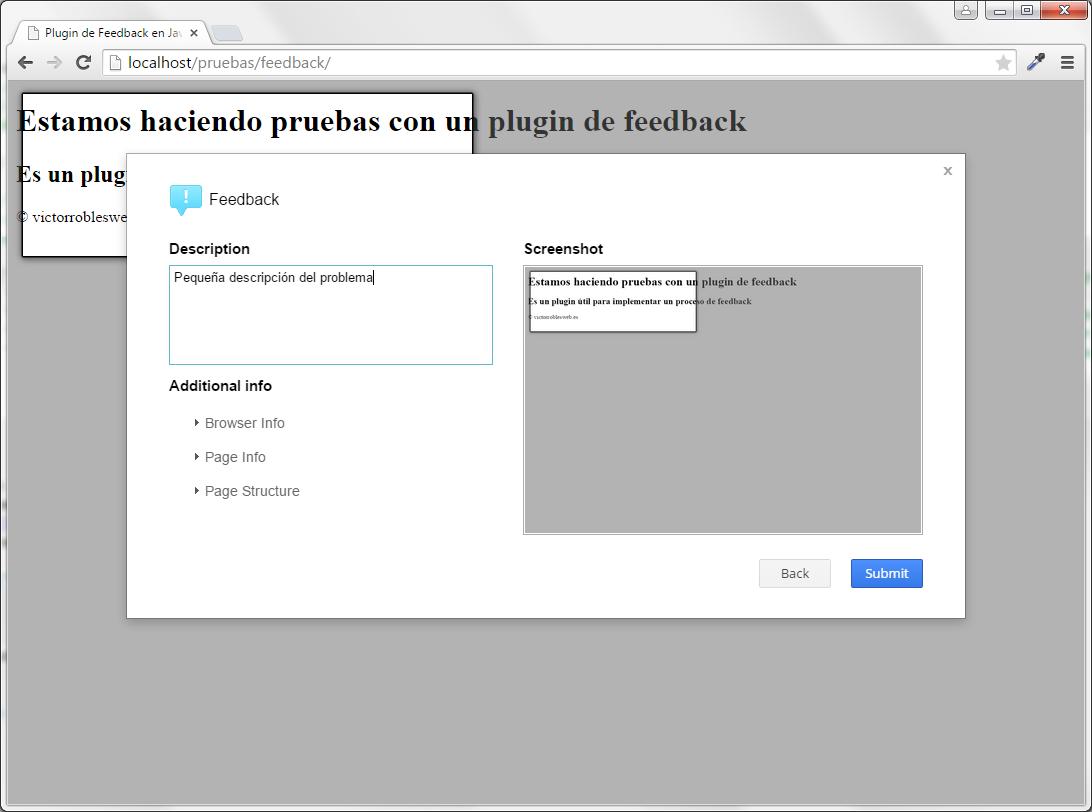 Plugin de feedback en Javascript y PHP description