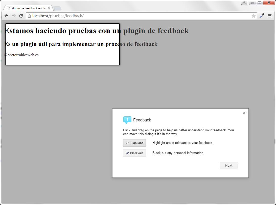 Plugin de feedback en Javascript y PHP highlight