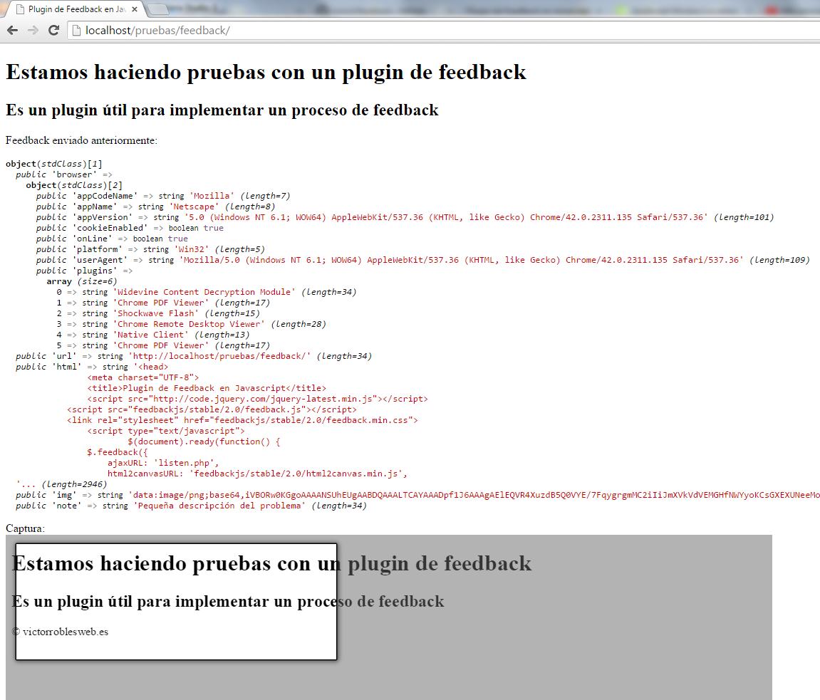 Plugin de feedback en Javascript y PHP imagen