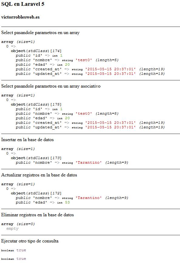 SQL en Laravel 5