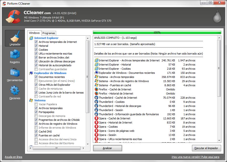 liberar espacio en windows con ccleaner limpiador