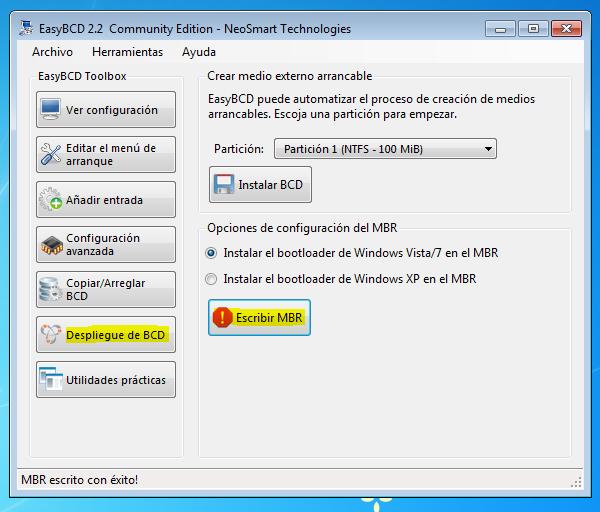 Desinstalar linux easybcd
