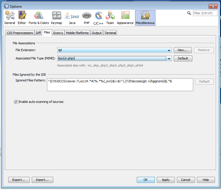 Resaltar el código de un tipo de fichero en Netbeans