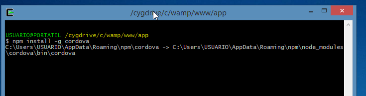 npm install -g cordova