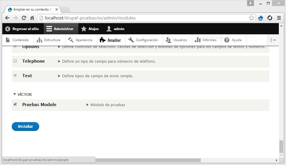 Como crear un módulo básico en Drupal 8