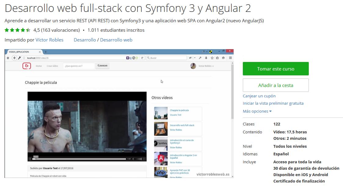 Más de 1010 estudiantes en el curso de desarrollo web fullstack con Symfony 3 y Angular2