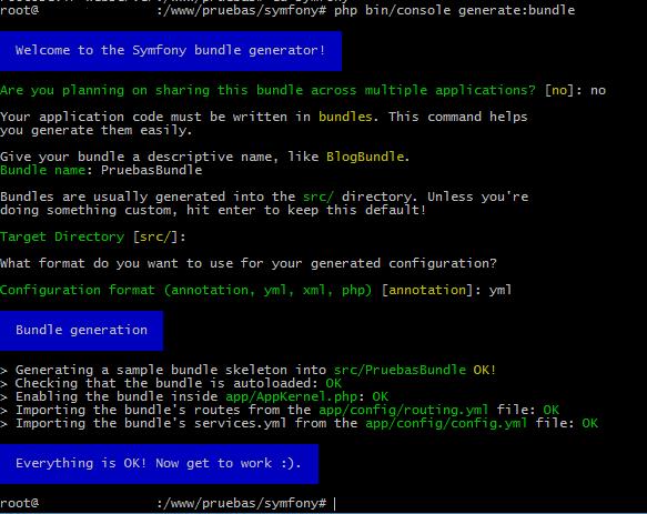 Generar bundles con Symfony3