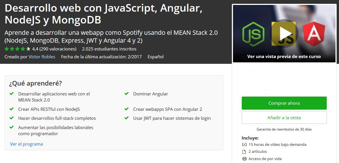 Más de 2000 estudiantes en el curso Desarrollo web con JavaScript, Angular, NodeJS y MongoDB 20k