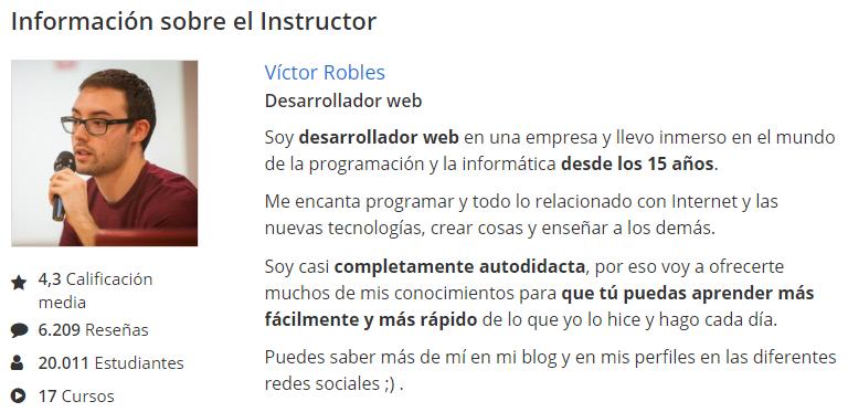 Ficha de instructor online de Víctor Robles