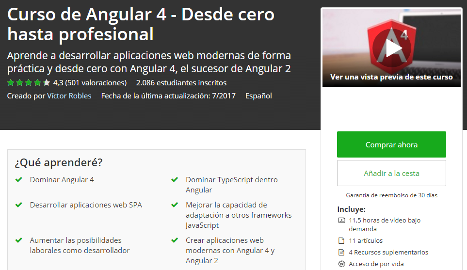 Curso de Angular 4 en español victor robles