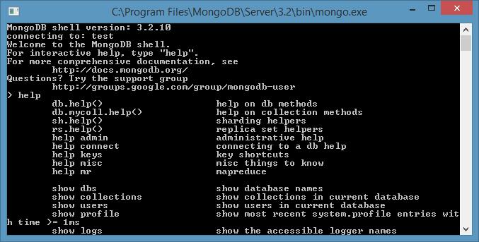 Instalar MongoDB en Windows Consola de mongo