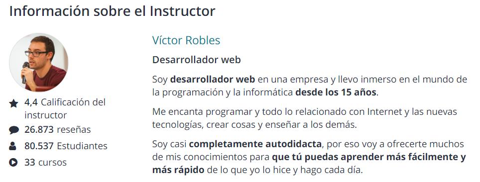Ficha de instructor online de Víctor Robles con más de 91.000 alumnos