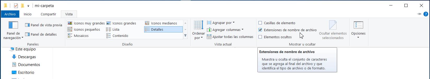 mostrar extensión de un archivo